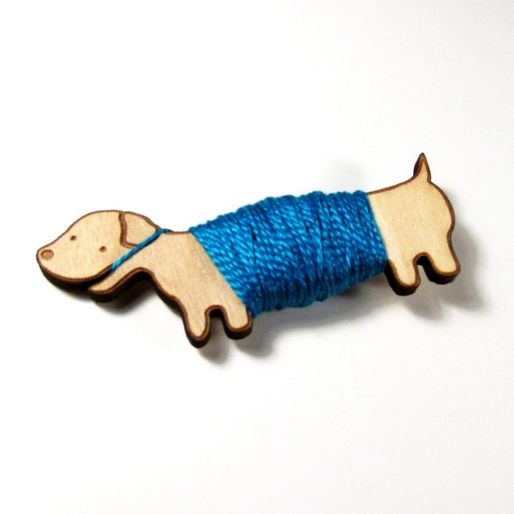 Flossy the Dachshund Embroidery Floss Bobbin