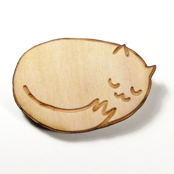 Sleepy Kitty Wood Pin