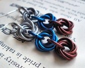 Bluebird's Nest - Silver Blue and Bronze Chainmaille Rosette Earrings