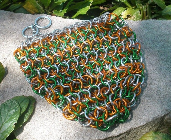 Chainmail Drawstring Gamer Dice Bag / Coin Purse ( Green / Orange / Silver )