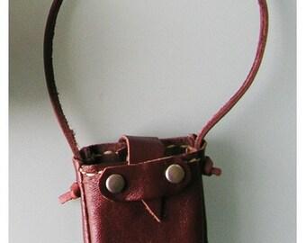 Mini Dark Burgundy Leather tote for fashion dolls