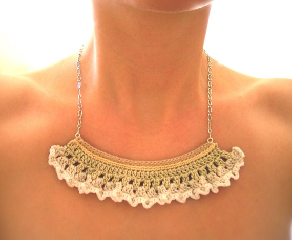 lace snip necklace by Even Howard crochet, handmade and one of a kind in cream and white fine crochet lace.