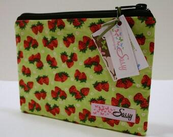 Strawberry Fabric Cosmetic Bag, Medium Make up Bag, Travel Makeup Bag, Lined Makeup Bag