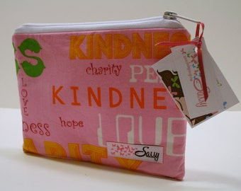 Pink Cosmetic Bag, Medium Size Make up Bag, Travel Cosmetic Case, Lined Makeup bag