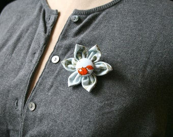 Fabric Flower Brooch, Pale Blue Flower Pin - Handmade Fabric Flower Pin