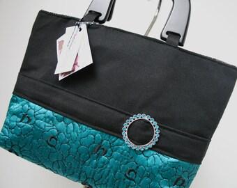 Black Evening Handmade Purse, Fabric Handbag, Veronica Collection/Eliza Bag