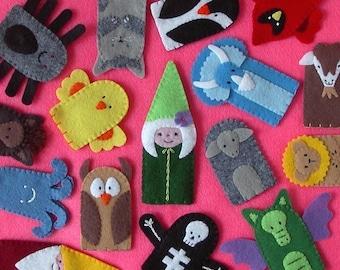 Felt Finger Puppets Set of 5 - Stitched to Order