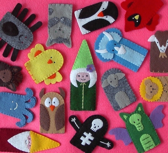 Felt Finger Puppets Set of 5 - Stitched to Order