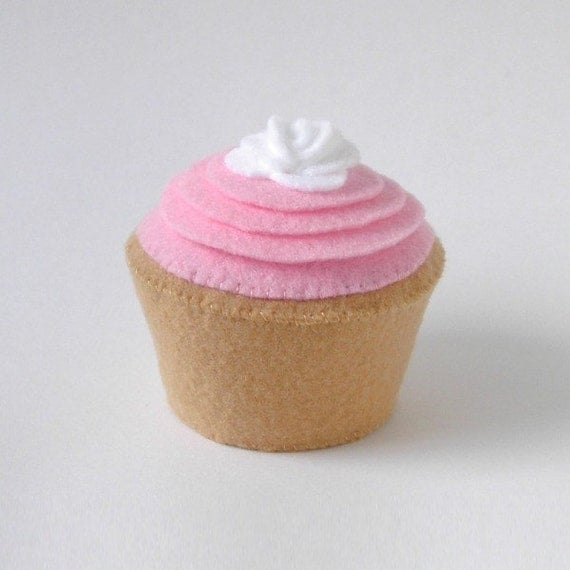 Pink Frosted Plush Cupcake with White Rose