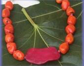 La Espanola Pink Agate and Orange Coral Chunky Necklace