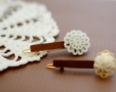 1 pair bobbie pins with stacked white flower buttons - custom order by cmorihiro
