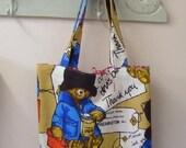 Paddington Bear Vintage Fabric Tote Bag\/ Book Bag