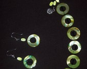 Green Shell Bracelet and Earrings
