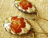 Red Poppy Blossom Oval Vintage Earrings
