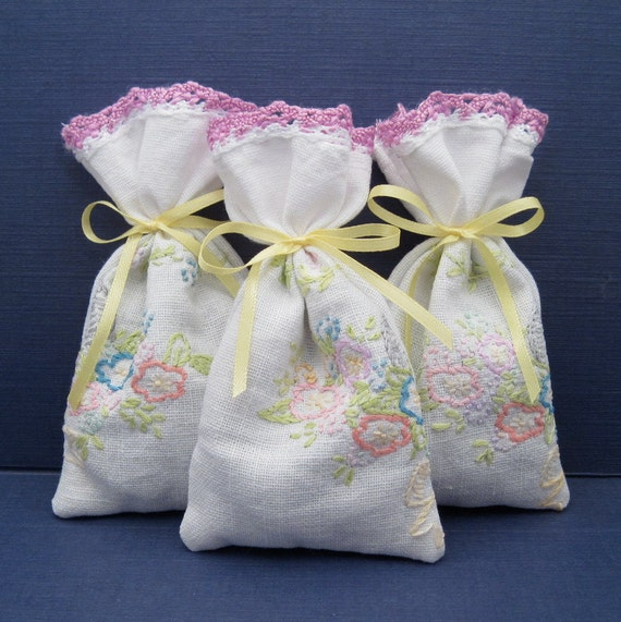 Dried Lavender Sachets - Embroidered - Set of 3 - Bridesmaid Gift