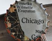 Chicago Map Bottle Cap Necklace