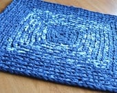 EKRA Navy and Tweed Square Crochet Upcycled Area Rug