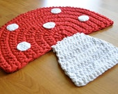 EKRA Red and White Mushroom Crochet Upcycled Area Throw Rug