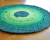 EKRA Shades of Emerald Green Round Crochet Recycled T shirt Area Rug