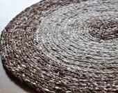 Crochet Area Rug Brown and White Flecks Ecofriendly Washable