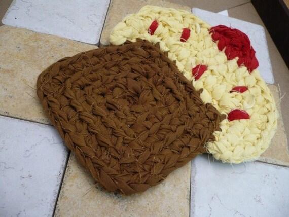 Yellow Frosting Cupcake Crochet Trivet Hotpad