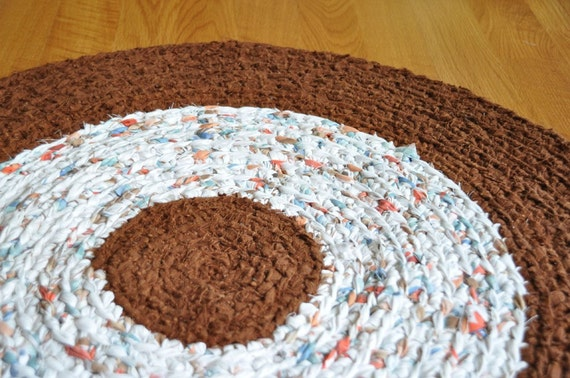 SALE Crochet Rag Rug - Autumn Harvest - Recycled - Upcycled - by EKRA