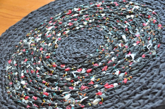 Rug by EKRA Night Garden Round Crochet Upcycled Area Mat