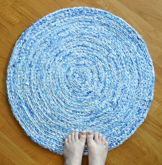 Blue And White Circle Rug: Throw Rug By EKRA Sky Blue And White Round Crochet By Ekra