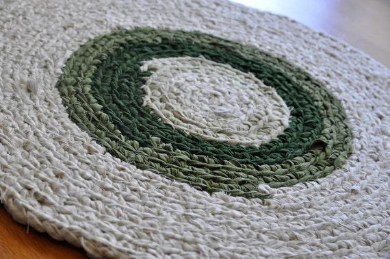 Crochet Rag Rug - Olive and Cream
