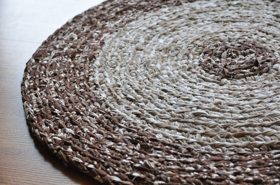 Crochet Area Rug Brown and White Flecks Ecofriendly Washable