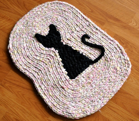 Kitty Area Rug EKRA Pink and Green with Black Cat