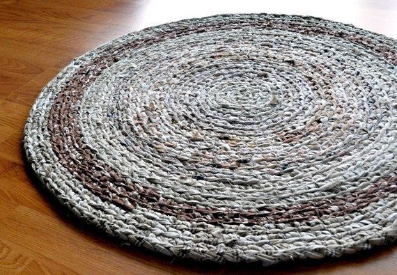 Crochet Rag Rug - Neutral Browns and Tans - Ecofriendly - Recycled