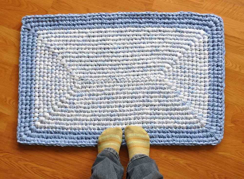 Area Rug Blue Skies And Clouds Rectangle Crochet Upcycled