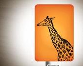 Giraffe Night light on Orange Fused Glass Nightlight - Gift for Baby Shower or Nature Lover