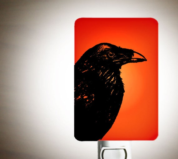 Raven Nightlight on Red Fused Glass Night Light - Gift for Baby Shower or Nature Lover - Beautiful Raven Bird