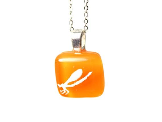 Damselfly Pendant - White on Tangerine Orange Pendant of Fused Glass - tiny jewelry for ladies or children