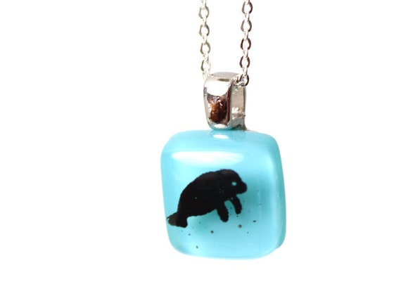 Manatee Pendant - Black on Aqua Blue Necklace of Fused Glass - tiny jewelry for ladies or children