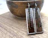 Chocolate Brown ... stained glass earrings