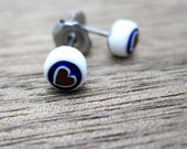 Millefiori glass stud earrings - hearts