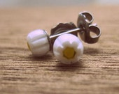 Millefiori glass stud earrings - tiny daisies