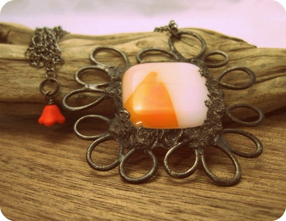 Orange Fused Glass & Metalwork Pendant