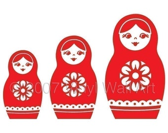 Nesting Dolls Vinyl Decal (Set of 3) size X-LARGE - Home Decor, Office Decor, Bedroom Decal, Travel Design, Russian Design,