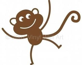 Monkey Vinyl Decal size SMALL (Set of 2) - Home Decor, Children's Room Decor, Nursery Design, Animal Decal, Office Decor