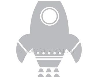 Rocket Ship Vinyl Decal size XX-LARGE - Children's Room Decor, Nursery Design, Space Decal, Rocket Decal, Little Boy Design, Teen Decor