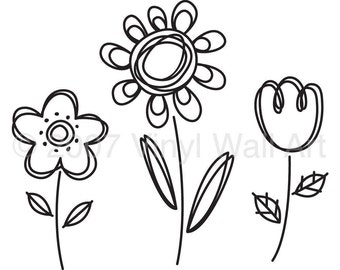 Doodle Flowers Vinyl Decal (set of 3) size LARGE, Children's Room Decor, Nursery Decor, Office Decal, Little Girl Design,