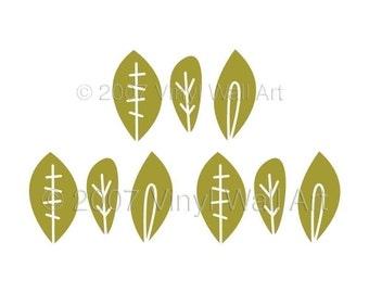 Fun Leaves Vinyl Wall Decals size SMALL (Set of 9) - Children's Decor, Bedroom Decor, Kitchen Decor, Office Decor,