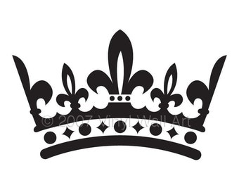Crown Vinyl Decal Size LARGE - Bedroom Design, Office Wall Art, Home Decor, Little Girl Designs, Nursery Decor, Queen, King,