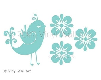 Quail and Flowers Vinyl Wall Decal size LARGE - Home Decor, Office Decor, Bird Decal, Flower Decal, Nursery Decor, Bedroom Decor