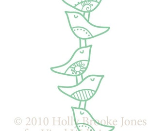 stacked birds vinyl wall decal LARGE