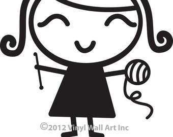 Crochet Girl Vinyl Car Decal - Car Sticker, Laptop Sticker, Window Decal, Personalized Decal,
